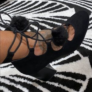 ASOS lace up heels with poms
